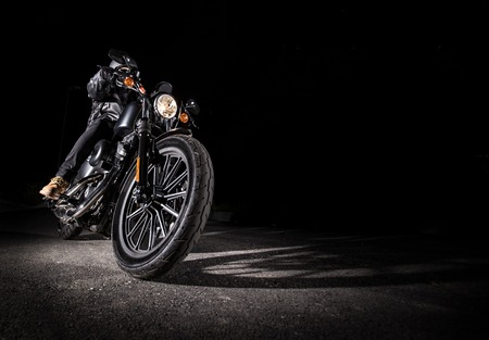 Close up of a high power motorcycle at night, chopper.