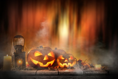 Halloween Pumpkins on old wooden table, still-life. Stock Photo