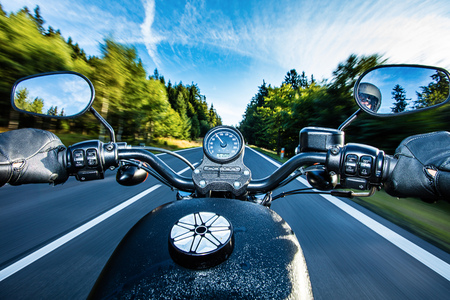handle bars: Close up of a high power motorcycle, chopper. Stock Photo