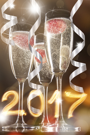 Glasses of champagne with splash, celebration theme. Stock Photo