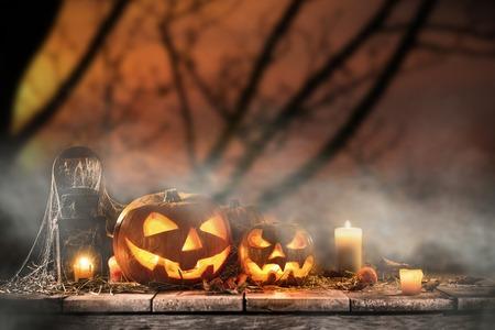 Halloween Pumpkins on old wooden table, still-life. Stock Photo