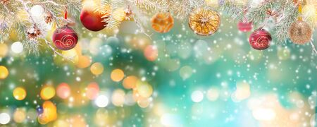 Christmas decoration on bokeh background, close-up. Stok Fotoğraf