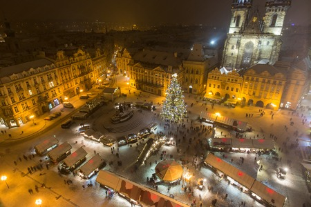 old town square: Old town square in Prague at Christmass time. Night. Stock Photo