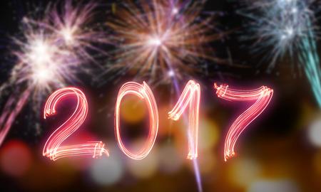 calendario diciembre: Feliz año nuevo 2017, tema de la celebración.