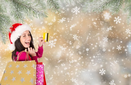 shopping card: Christmas Shopping. Beautiful Happy Girl With Credit Card. Christmas Sales