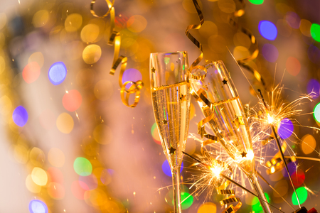Glasses of champagne, celebration theme, New year.