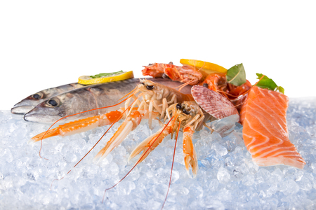 raw: Fresh seafood on crushed ice, close-up.