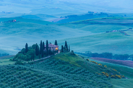 pienza: Tuscany, panoramic landscape - Italy, Europe.