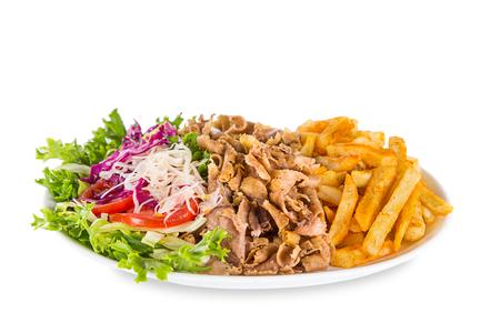 fermer de kebab sandwich sur fond blanc