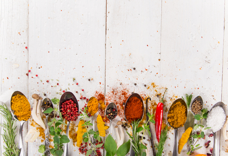 indian cookery: Various colorful spices on wooden table