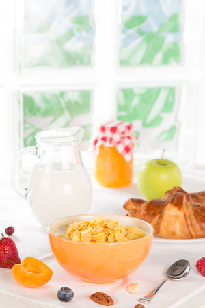 breackfast: Tasty dieting food and glass of milk Stock Photo