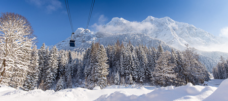 Sunny winter landscape in the mountains Stock Photo