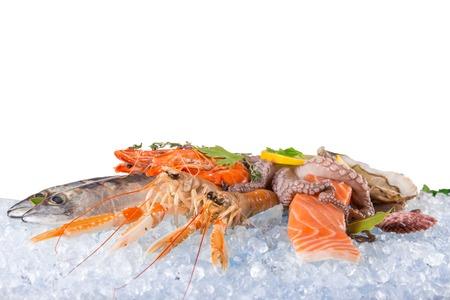 Fresh seafood on crushed ice. Stock Photo