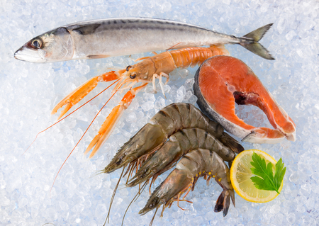 crushed: Fresh seafood on crushed ice. Stock Photo