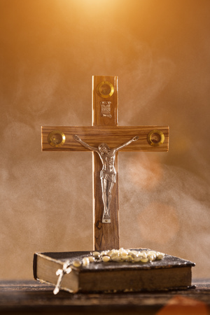 Close-up of wooden Christian cross.