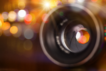 Camera lens with bokeh background. Stock Photo - 72062794