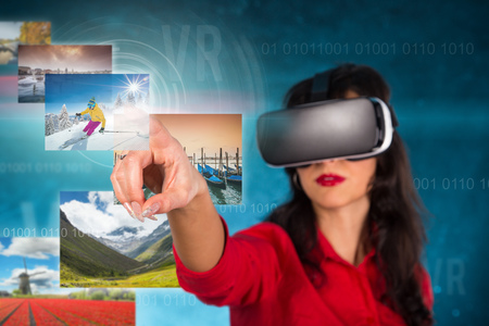 computer simulation: Happy woman with glasses of virtual reality. Stock Photo