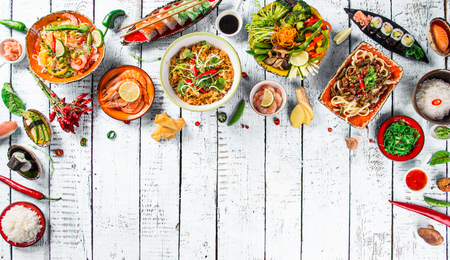 fry: Various of asian meals on rustic background , top view , place for text.