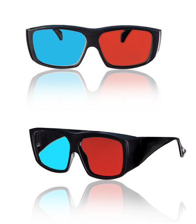 3d plastic glasses isolated on white background Stock Photo