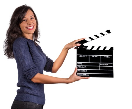 filmmaker: Clapperboard sign hold by female hands. Stock Photo
