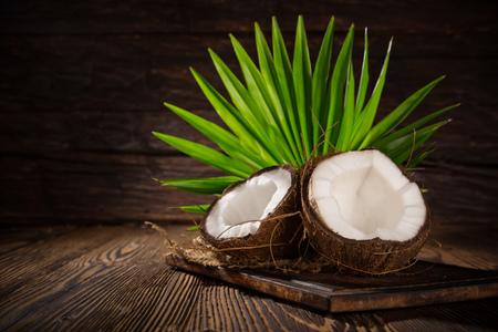 Close-up van een kokosnoten Stockfoto