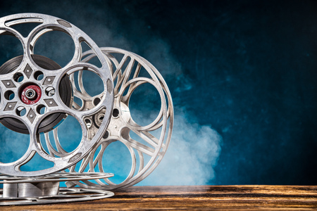 Old style movie reels, still-life, close-up.