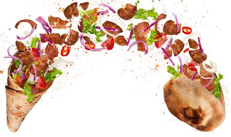 Emparedado de Kebab con los ingredientes que vuelan. Foto de archivo - 77451740