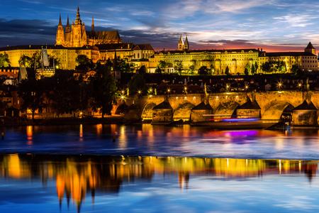 Prague Castle after sunset. Europe, Czech republic. Stock Photo - 80038397