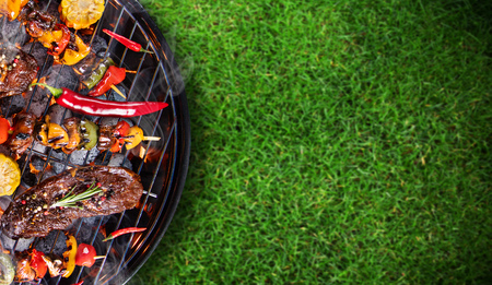 Barbecue grill with beef steaks, close-up. Stock fotó - 80622701