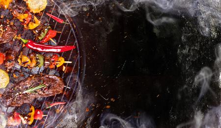 쇠고기 스테이크, 바베 큐 그릴 근접. 스톡 콘텐츠