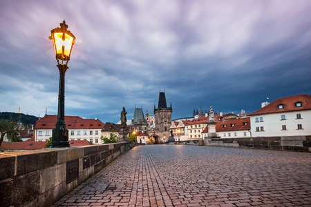 Prague Charles bridge after sunset. Czech republic. Stock Photo