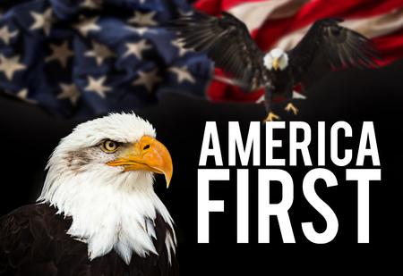 Bald Eagle with American flag Reklamní fotografie - 81340148