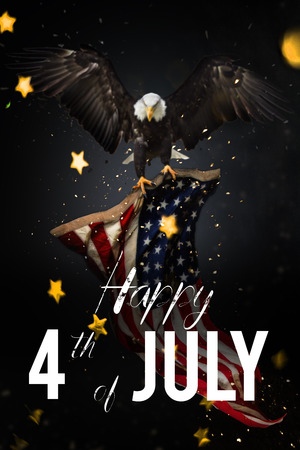 national congress: American feast 4th of July. Bald Eagle with American flag
