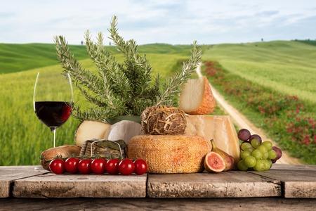 Various types of italian cheeses Standard-Bild