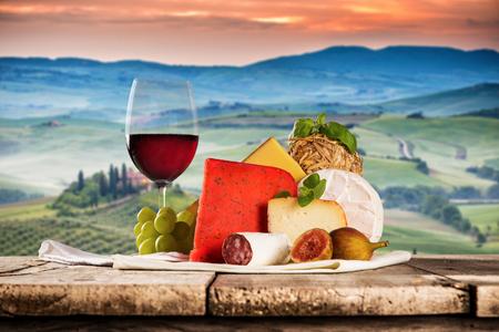 Various types of italian cheeses Stock Photo