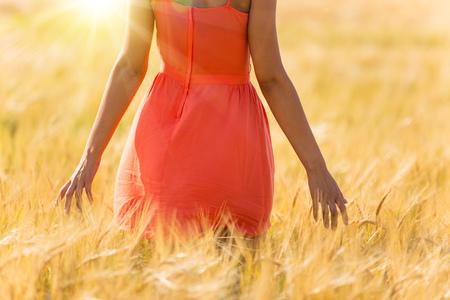 Meisje dat in rode kleding op tarwegebied loopt. Oogstthema.