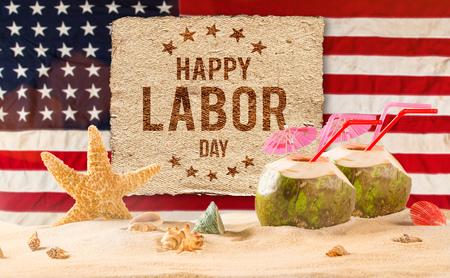 Bannière de la fête du travail, fond patriotique