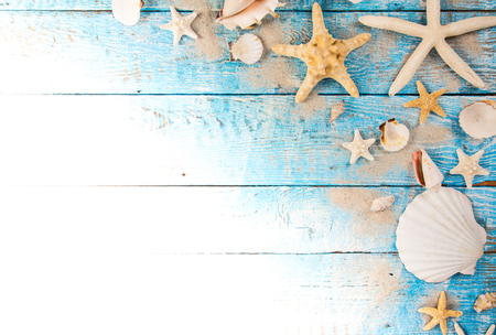 Summer traveling time. Sea holiday background with various shells. 版權商用圖片 - 81703317