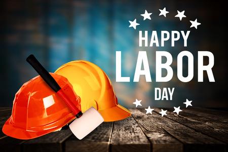 幸せな労働者の日バナー、アメリカ愛国的な背景