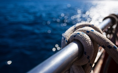 Sailboat rope, yacht close-up. Yachting Stockfoto