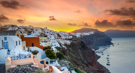 The famous sunset at Santorini in Oia village, Greece, Europe.