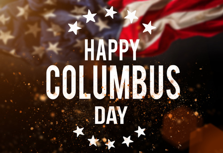 Happy Columbus day banner, american patriotic background Stock Photo
