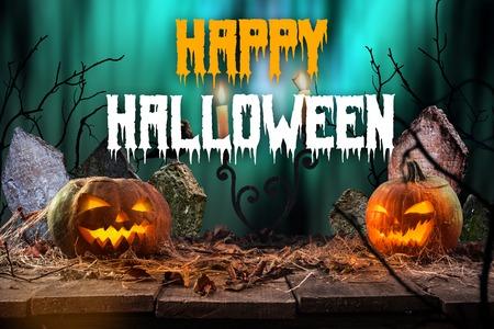 Halloween pumpkins on wooden planks. Banco de Imagens - 86249056