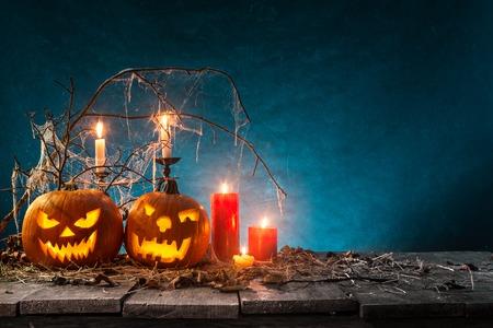 Halloween pumpkins on wooden planks. Banco de Imagens - 86249065