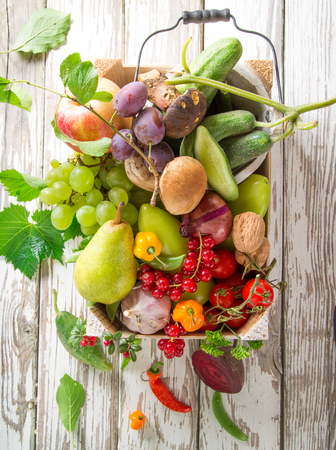Vegetables on old wooden table. Bio Healthy food.