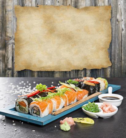 Japanese sushi set on a rustic dark background. Stock Photo