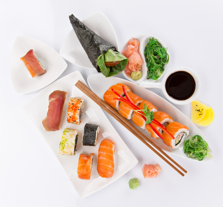 Japanese sushi set on white background.