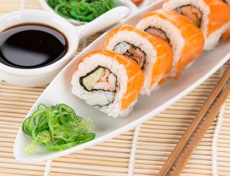 Japanese sushi set on white background.