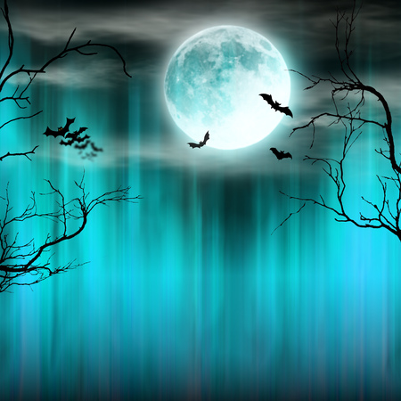 Spooky Halloween background with old trees silhouettes. Banco de Imagens - 87548068