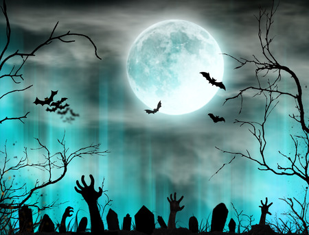 Spooky Halloween background with zombie hands.